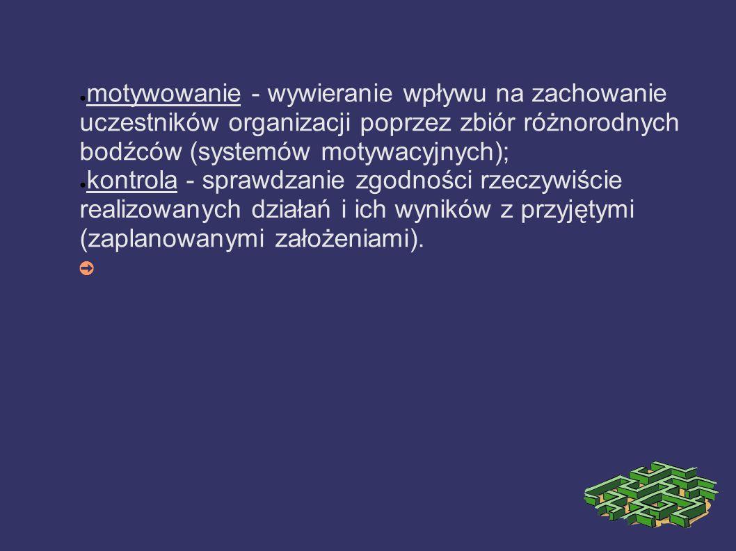 motywowanie - wywieranie wpływu na zachowanie uczestników organizacji poprzez zbiór różnorodnych bodźców (systemów motywacyjnych);