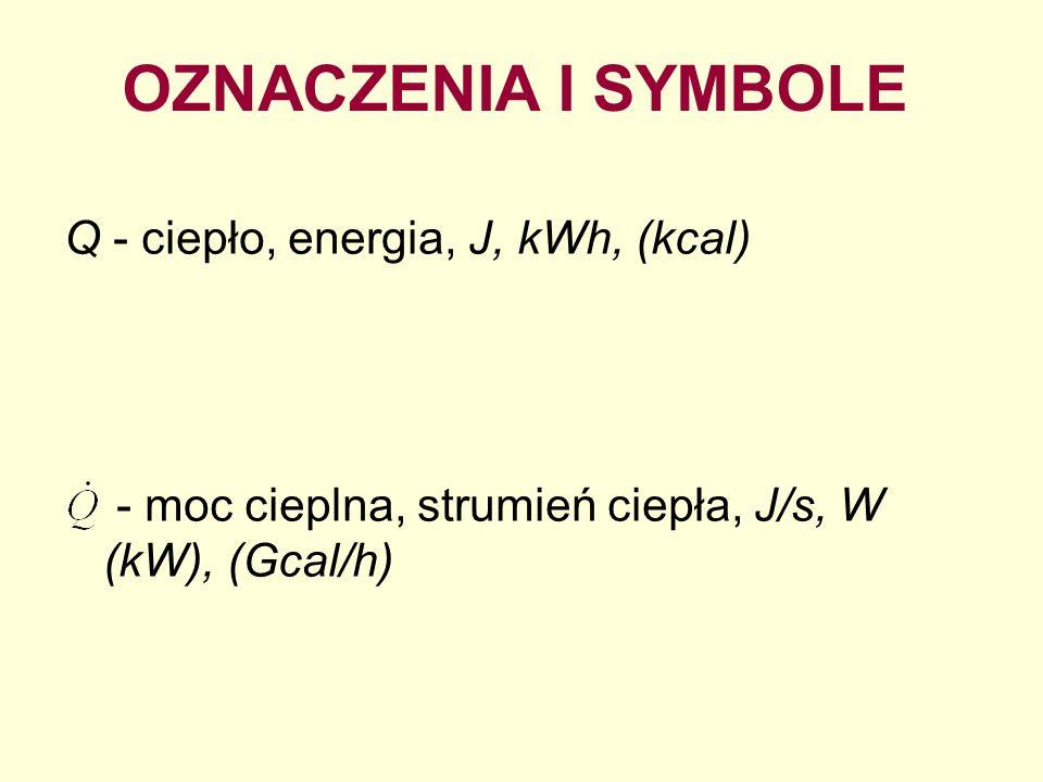 OZNACZENIA I SYMBOLE Q - ciepło, energia, J, kWh, (kcal)