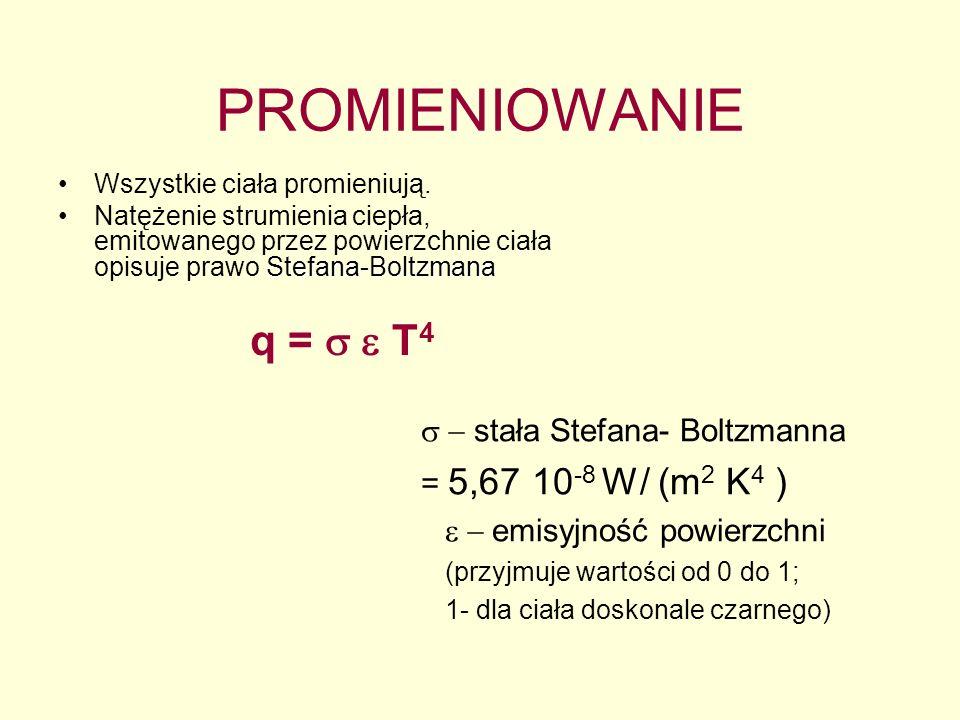 PROMIENIOWANIE q = s e T4 s - stała Stefana- Boltzmanna