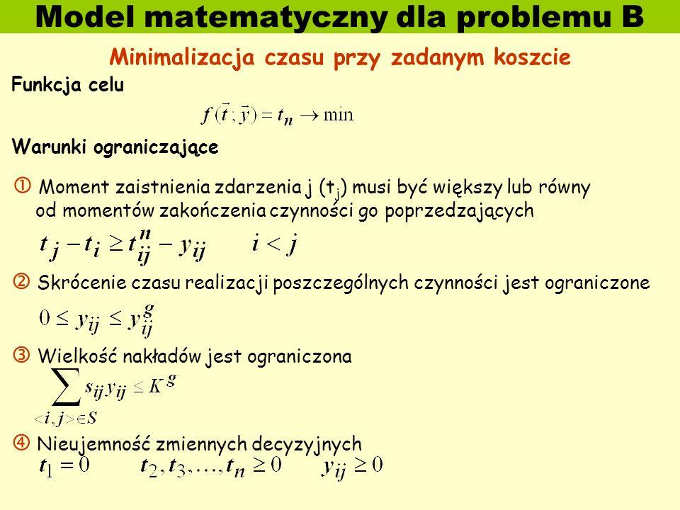 Model matematyczny dla problemu B