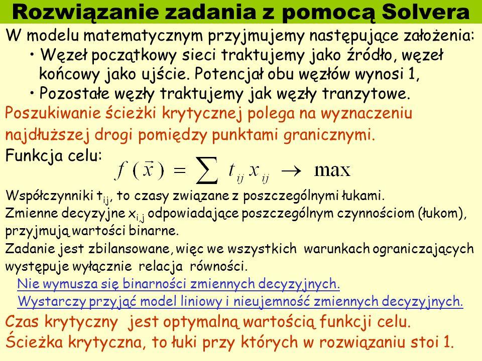 Rozwiązanie zadania z pomocą Solvera