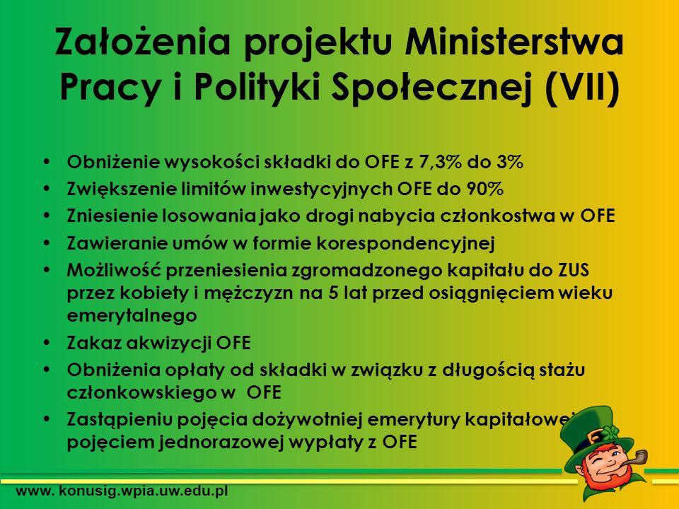 Założenia projektu Ministerstwa Pracy i Polityki Społecznej (VII)