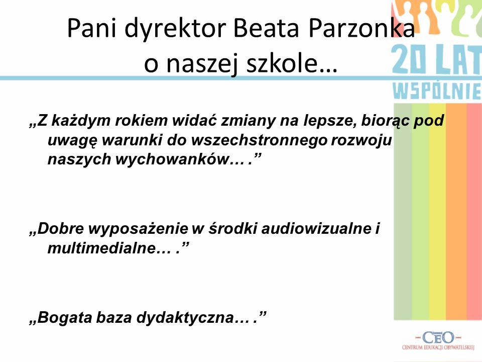 Pani dyrektor Beata Parzonka o naszej szkole…