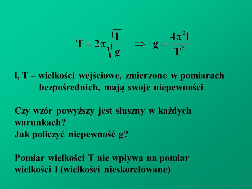 l, T – wielkości wejściowe, zmierzone w pomiarach