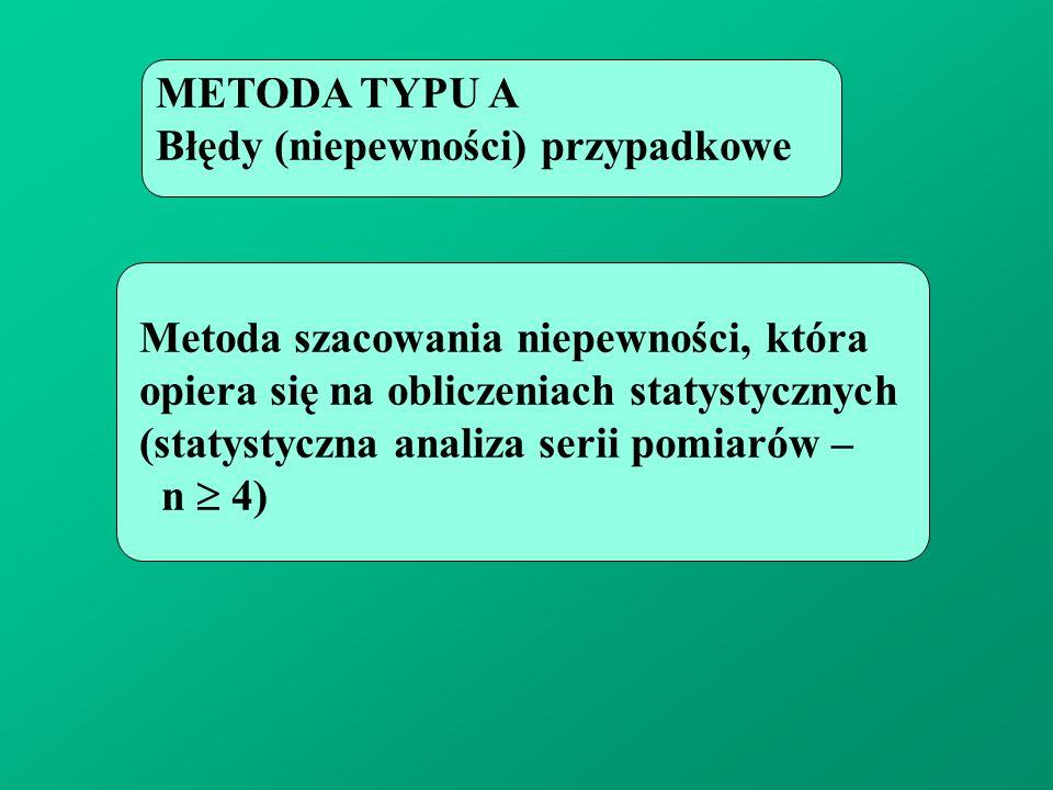 METODA TYPU A Błędy (niepewności) przypadkowe. Metoda szacowania niepewności, która. opiera się na obliczeniach statystycznych.