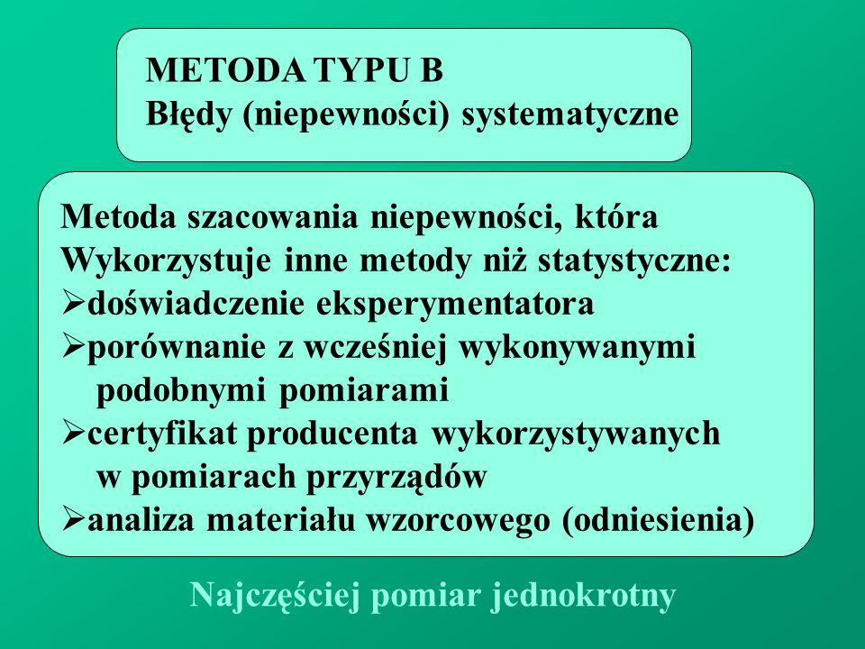 METODA TYPU B Błędy (niepewności) systematyczne. Metoda szacowania niepewności, która. Wykorzystuje inne metody niż statystyczne: