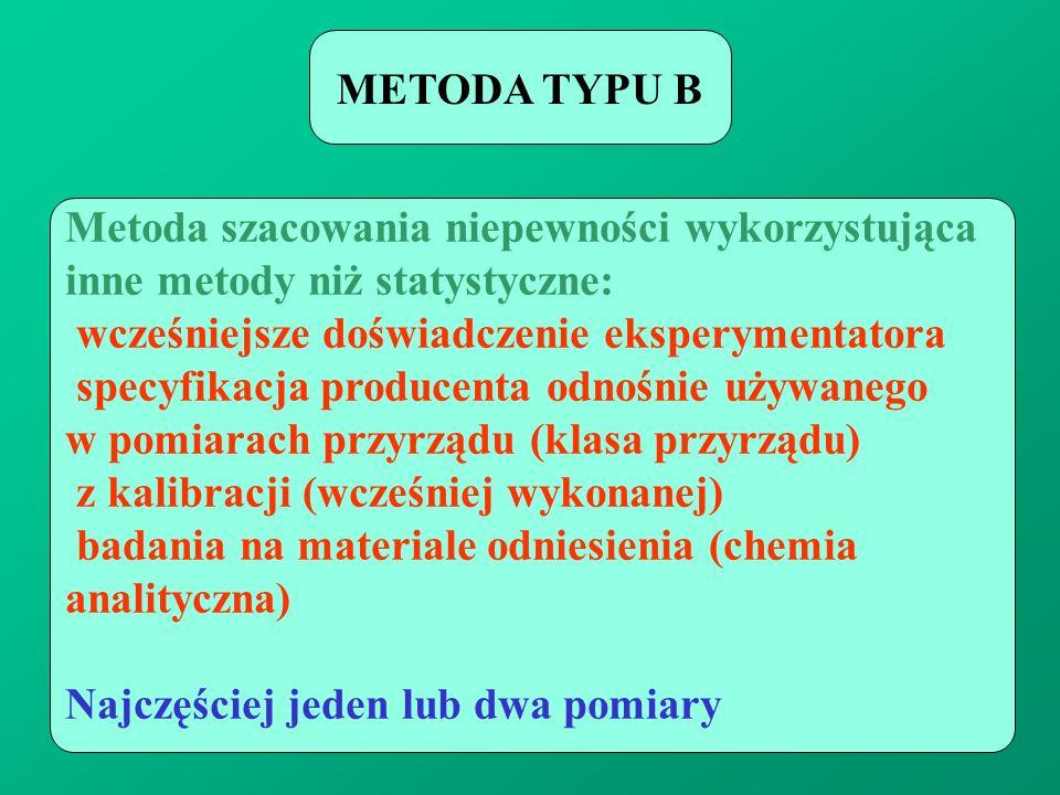 METODA TYPU B Metoda szacowania niepewności wykorzystująca. inne metody niż statystyczne: wcześniejsze doświadczenie eksperymentatora.