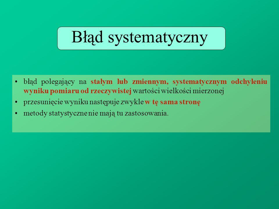 Błąd systematyczny błąd polegający na stałym lub zmiennym, systematycznym odchyleniu wyniku pomiaru od rzeczywistej wartości wielkości mierzonej.
