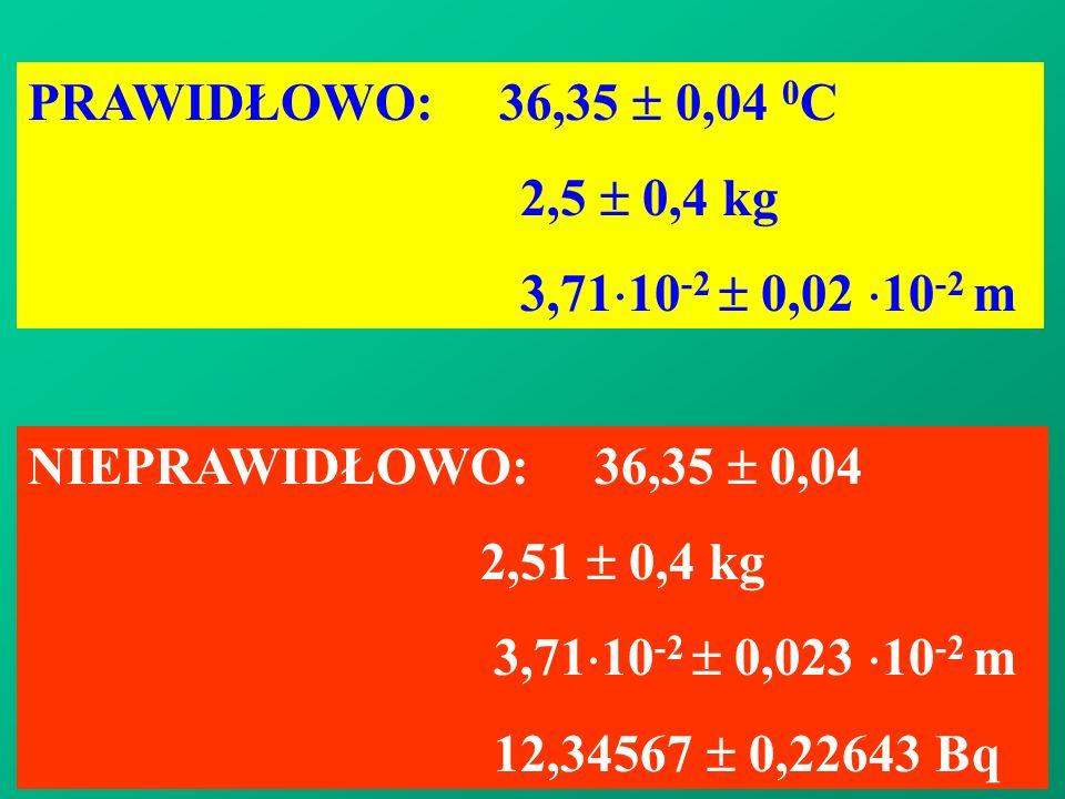PRAWIDŁOWO: 36,35  0,04 0C 2,5  0,4 kg. 3,7110-2  0,02 10-2 m. NIEPRAWIDŁOWO: 36,35  0,04.
