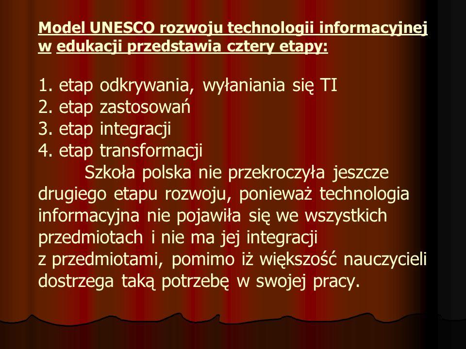 Model UNESCO rozwoju technologii informacyjnej w edukacji przedstawia cztery etapy: 1.