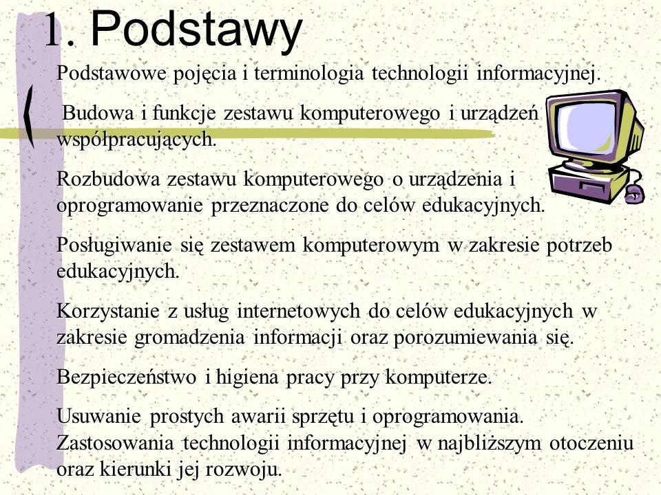1. Podstawy Podstawowe pojęcia i terminologia technologii informacyjnej. Budowa i funkcje zestawu komputerowego i urządzeń współpracujących.