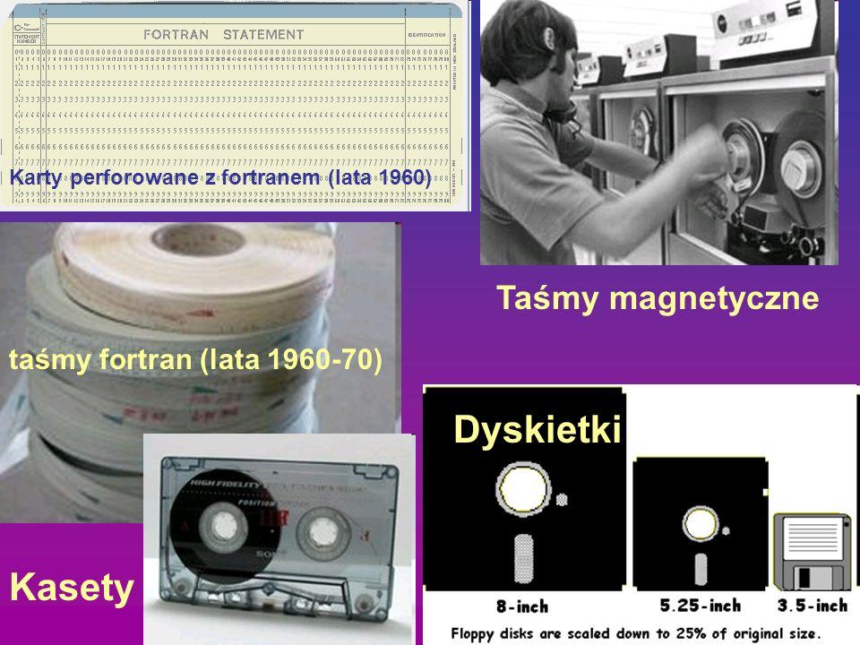 Dyskietki Kasety Taśmy magnetyczne taśmy fortran (lata 1960-70)