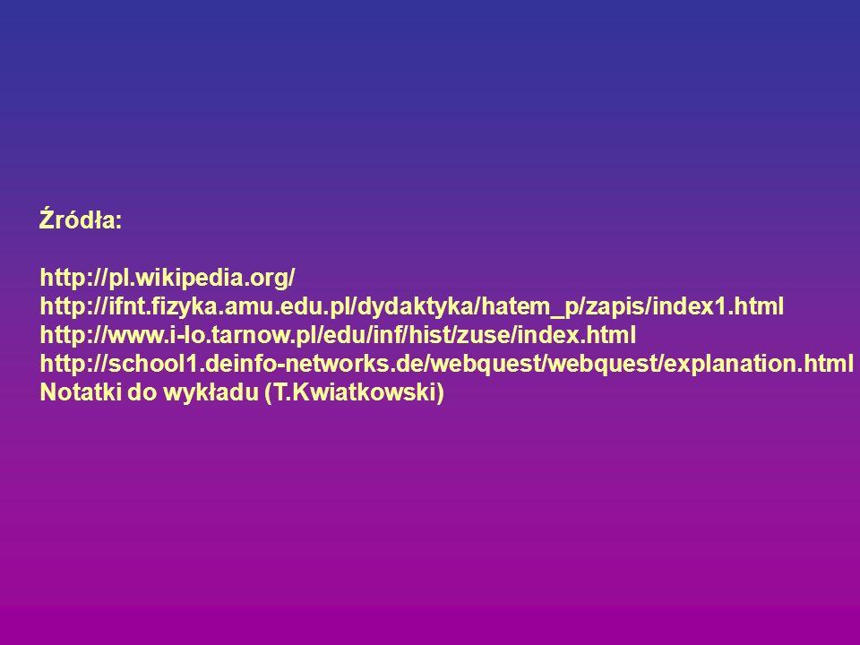 Źródła: http://pl.wikipedia.org/ http://ifnt.fizyka.amu.edu.pl/dydaktyka/hatem_p/zapis/index1.html.