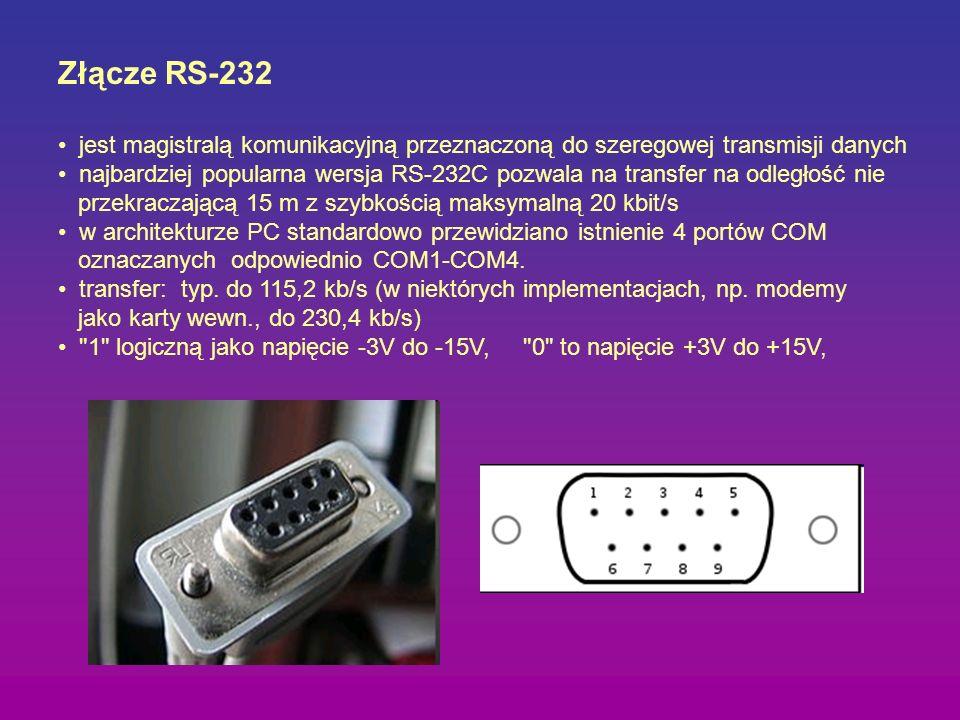 Złącze RS-232 jest magistralą komunikacyjną przeznaczoną do szeregowej transmisji danych.