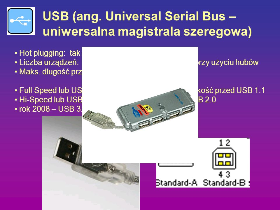 USB (ang. Universal Serial Bus – uniwersalna magistrala szeregowa)