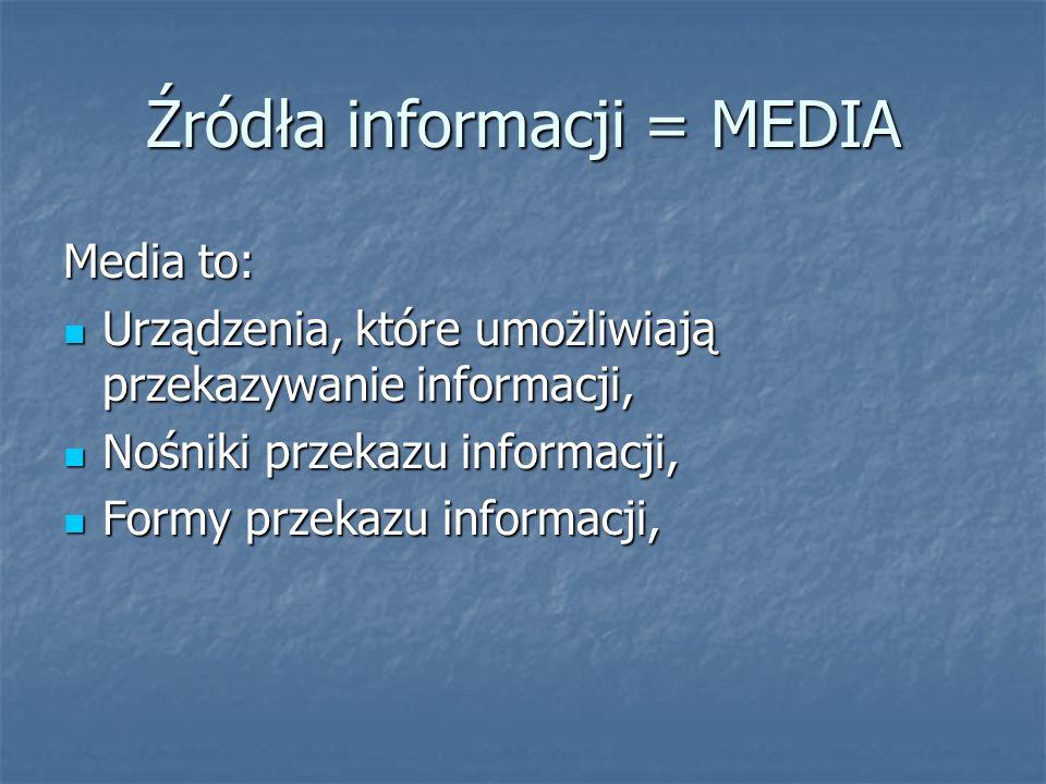 Źródła informacji = MEDIA