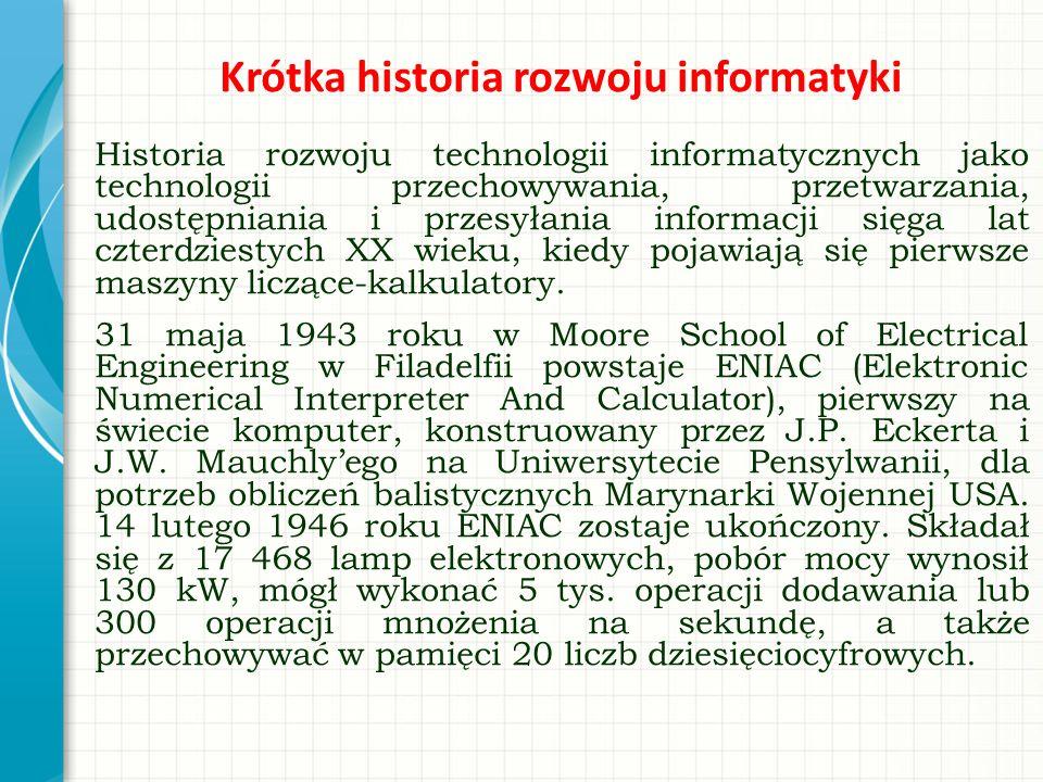Krótka historia rozwoju informatyki