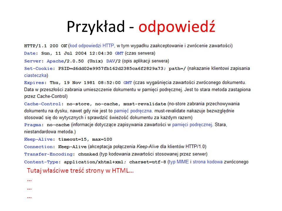Przykład - odpowiedź Tutaj właściwe treść strony w HTML… …