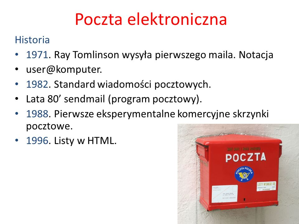 Poczta elektroniczna Historia