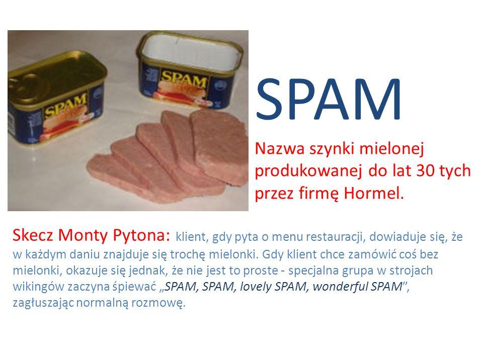 SPAM Nazwa szynki mielonej produkowanej do lat 30 tych przez firmę Hormel.