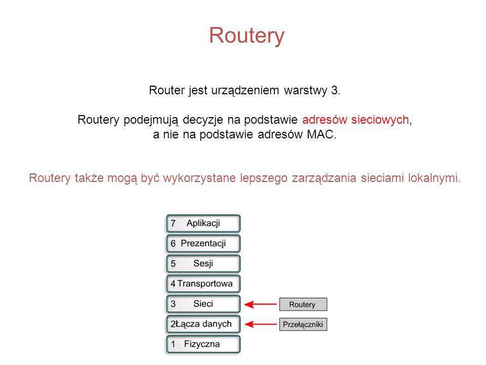 Routery Router jest urządzeniem warstwy 3.