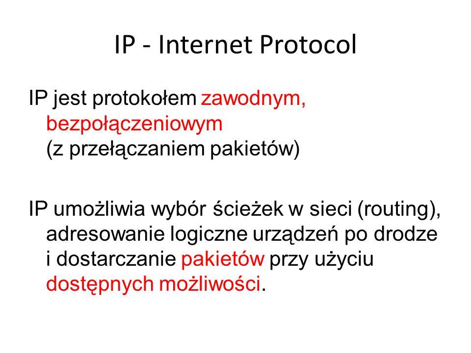 IP - Internet ProtocolIP jest protokołem zawodnym, bezpołączeniowym (z przełączaniem pakietów)