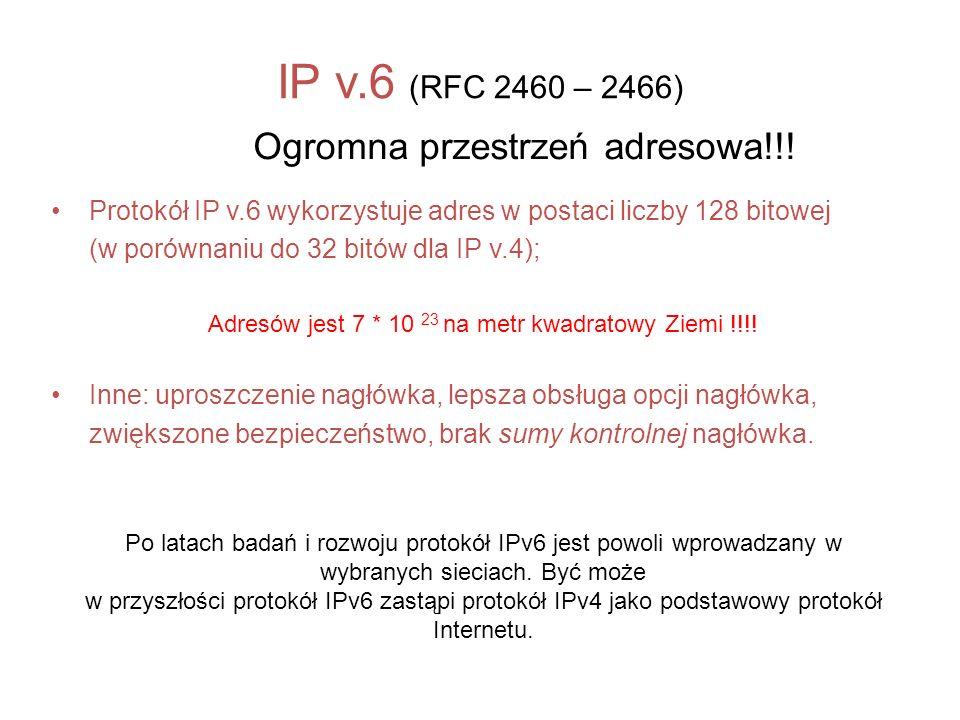 IP v.6 (RFC 2460 – 2466) Ogromna przestrzeń adresowa!!!