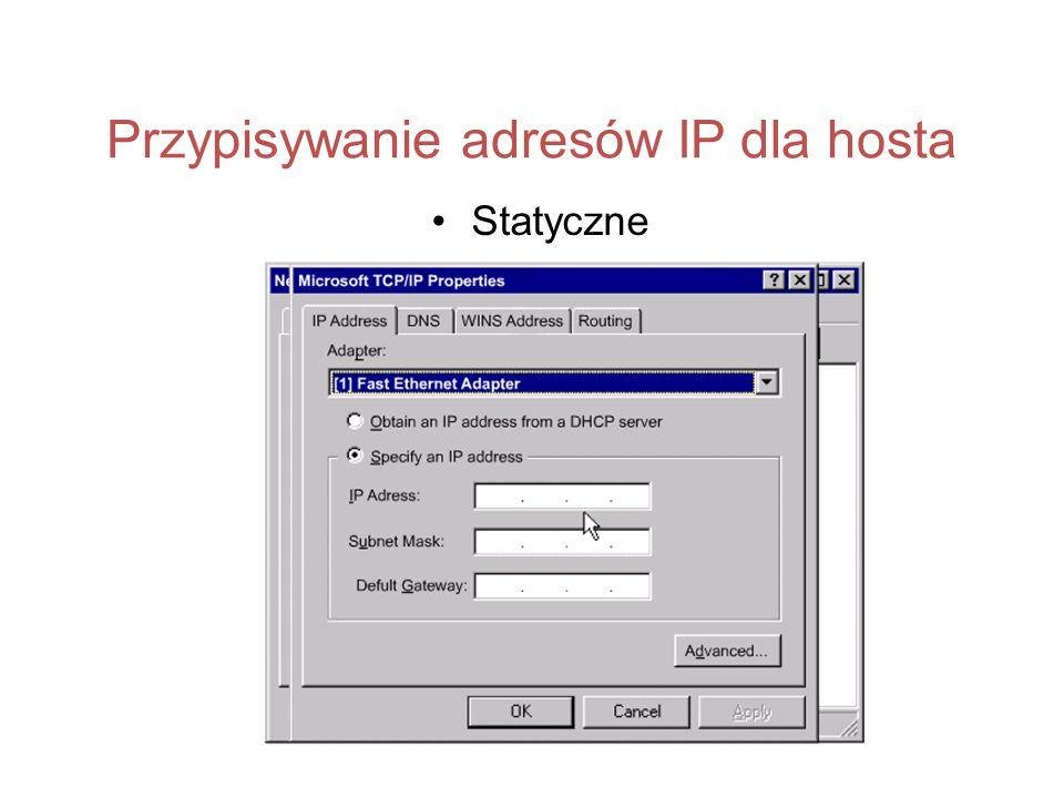 Przypisywanie adresów IP dla hosta