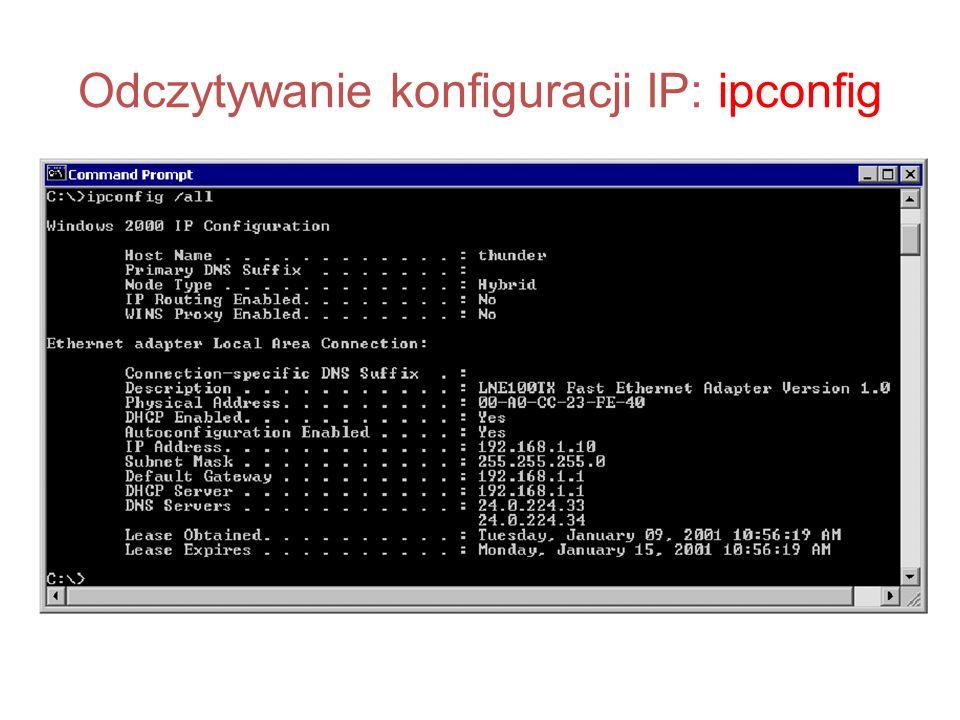 Odczytywanie konfiguracji IP: ipconfig