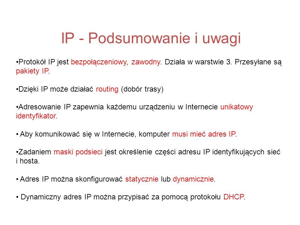 IP - Podsumowanie i uwagi
