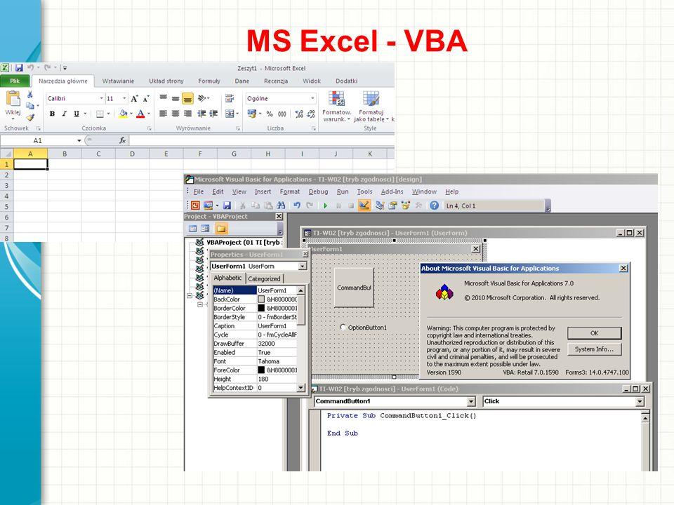 MS Excel - VBA Omów krótko prezentację. Przedstaw najważniejszy element i wyjaśnij, dlaczego jest on istotny.