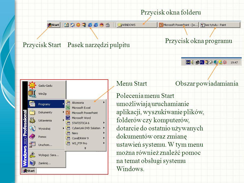 Przycisk okna programu Przycisk Start Pasek narzędzi pulpitu