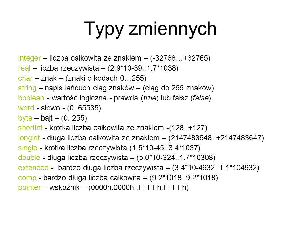 Typy zmiennych integer – liczba całkowita ze znakiem – (-32768…+32765)
