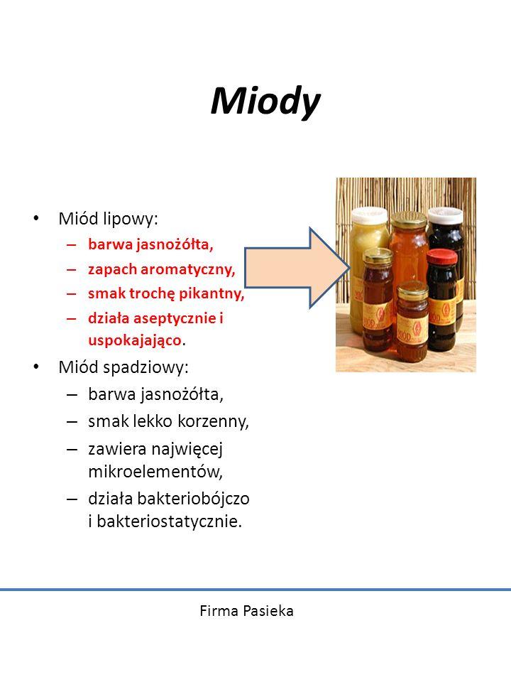 Miody Miód lipowy: Miód spadziowy: smak lekko korzenny,