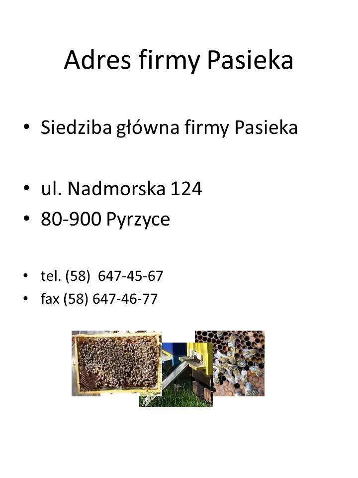 Adres firmy Pasieka Siedziba główna firmy Pasieka ul. Nadmorska 124