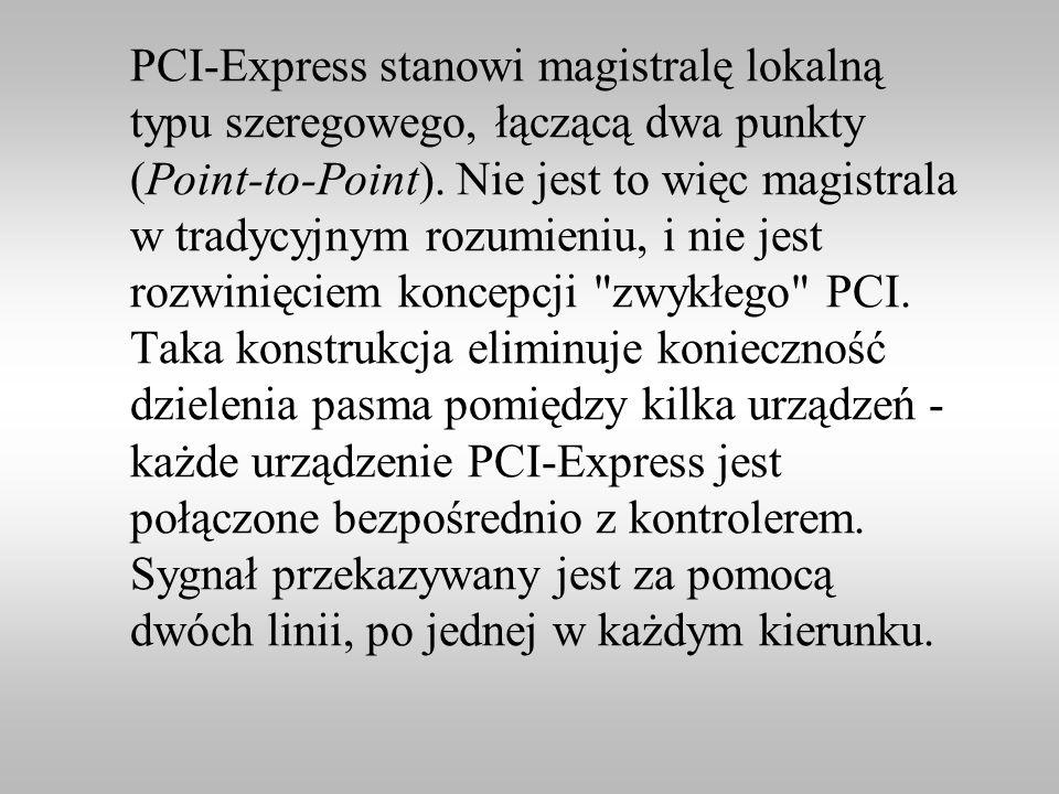 PCI-Express stanowi magistralę lokalną typu szeregowego, łączącą dwa punkty (Point-to-Point).