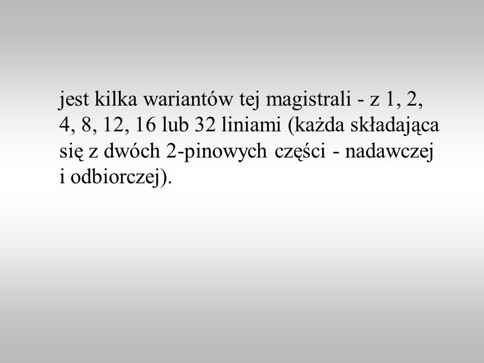 jest kilka wariantów tej magistrali - z 1, 2, 4, 8, 12, 16 lub 32 liniami (każda składająca się z dwóch 2-pinowych części - nadawczej i odbiorczej).