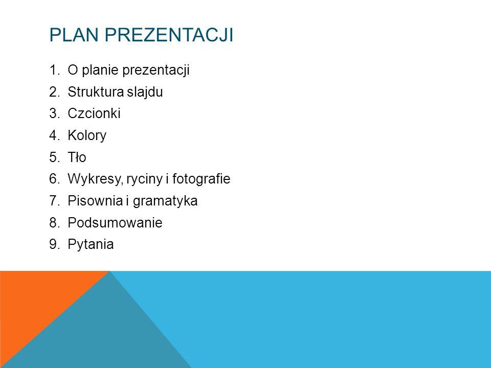 Plan prezentacji O planie prezentacji Struktura slajdu Czcionki Kolory