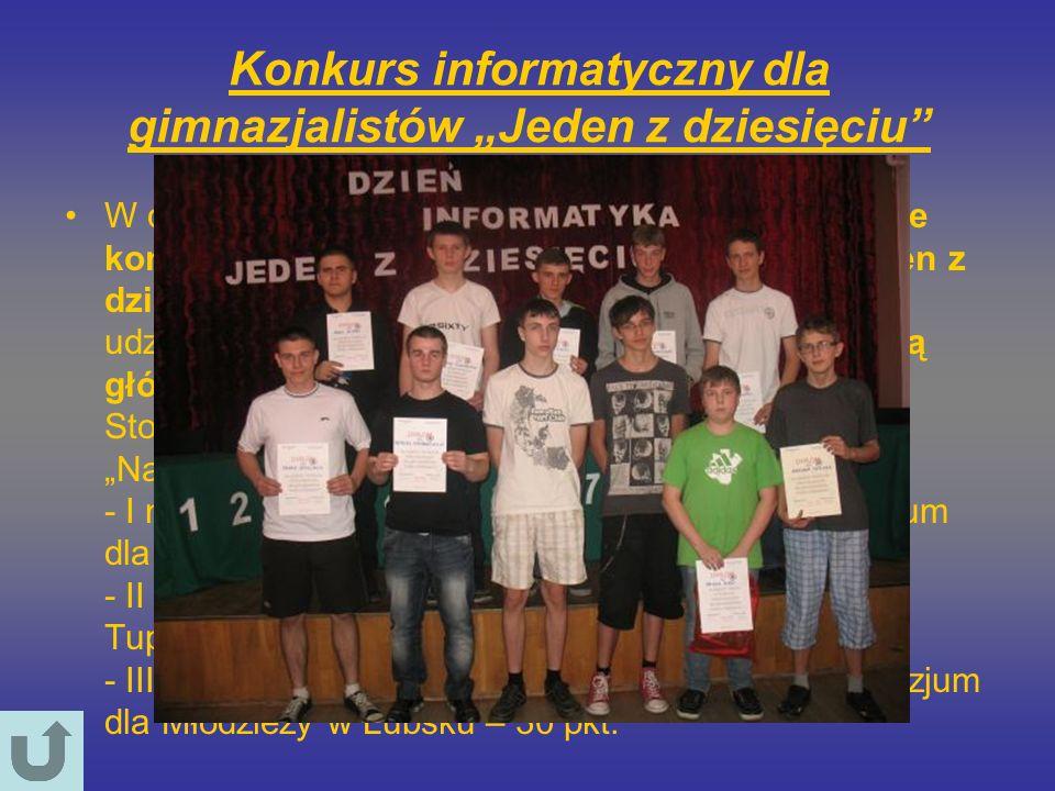"""Konkurs informatyczny dla gimnazjalistów """"Jeden z dziesięciu"""