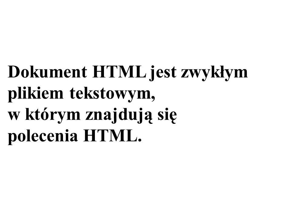 Dokument HTML jest zwykłym