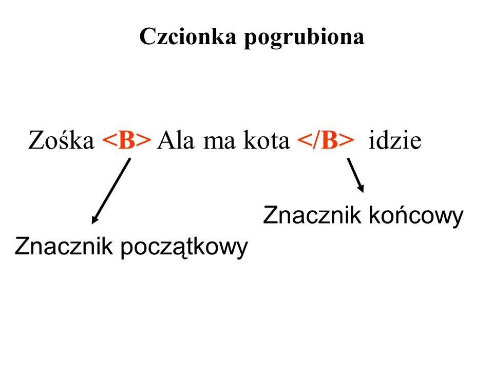 Zośka <B> Ala ma kota </B> idzie