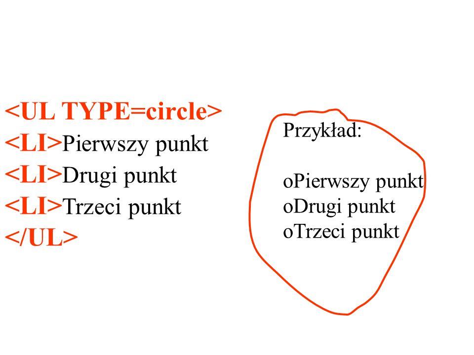 <UL TYPE=circle> <LI>Pierwszy punkt <LI>Drugi punkt