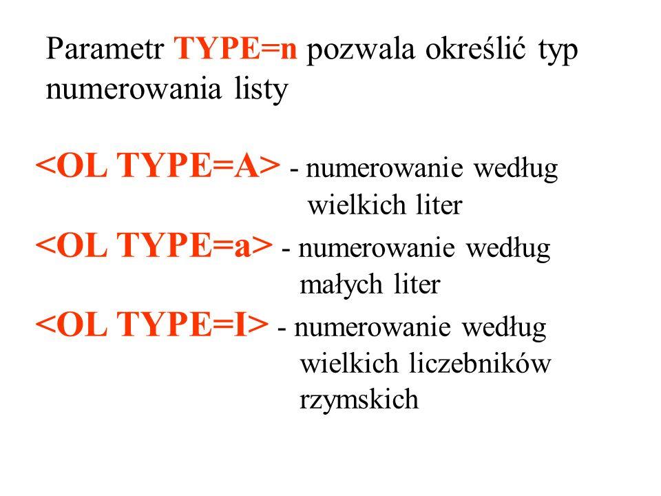 <OL TYPE=A> - numerowanie według