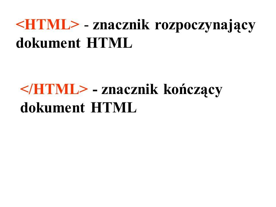 <HTML> - znacznik rozpoczynający