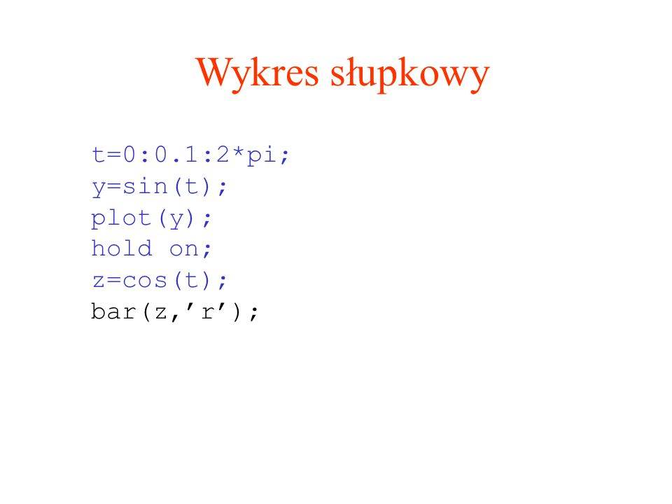 Wykres słupkowy t=0:0.1:2*pi; y=sin(t); plot(y); hold on; z=cos(t);