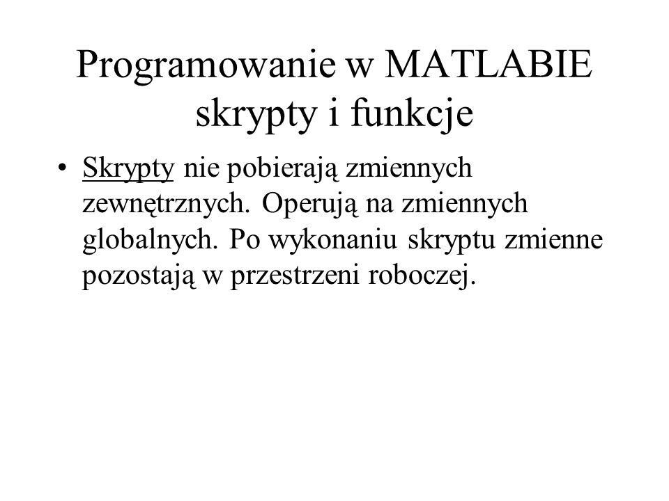 Programowanie w MATLABIE skrypty i funkcje