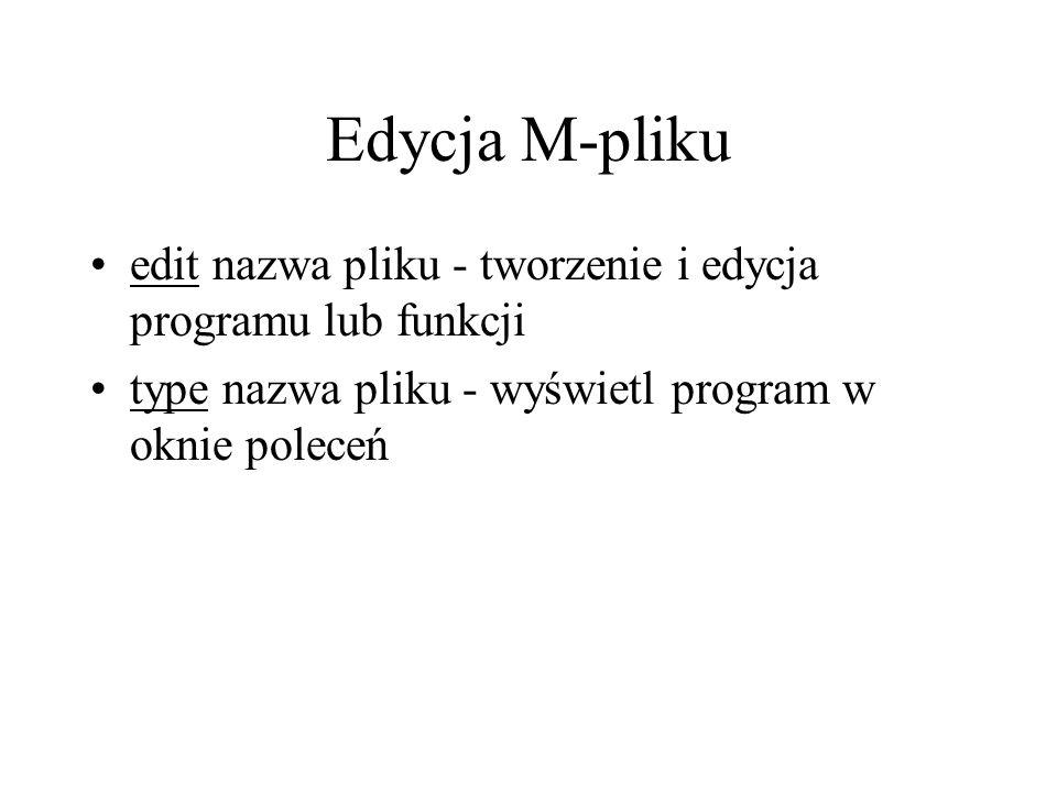 Edycja M-pliku edit nazwa pliku - tworzenie i edycja programu lub funkcji.