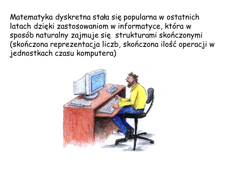 Matematyka dyskretna stała się popularna w ostatnich latach dzięki zastosowaniom w informatyce, która w sposób naturalny zajmuje się strukturami skończonymi (skończona reprezentacja liczb, skończona ilość operacji w jednostkach czasu komputera)