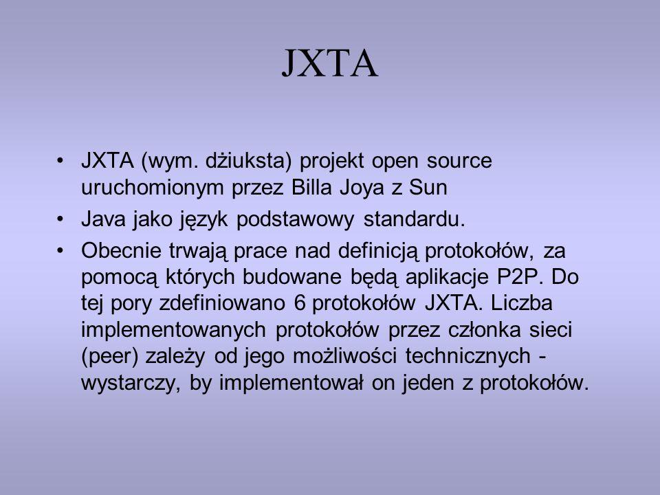 JXTA JXTA (wym. dżiuksta) projekt open source uruchomionym przez Billa Joya z Sun. Java jako język podstawowy standardu.