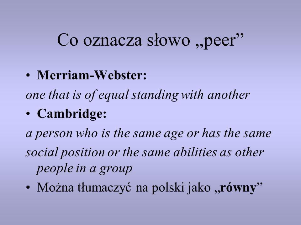 """Co oznacza słowo """"peer"""